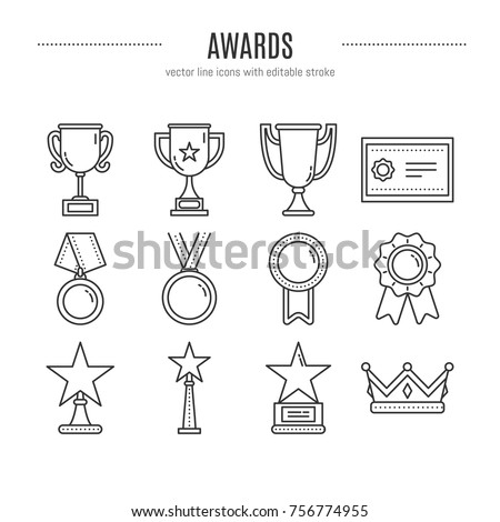 Vector award icons set in trendy linear style