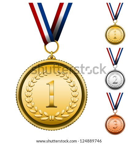 Vector Award Medals Set isolated on white