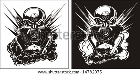 Vector b&w detailed skull with engine set. Only two objects.