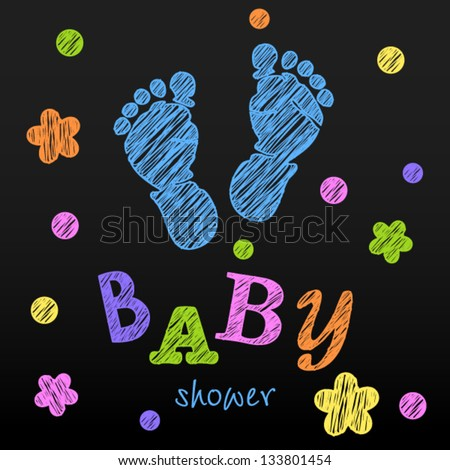 vector baby announcement card baby shower chalk drawing 133801454