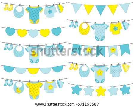 Vector baby boy clothes hanging on line. Vector bunting. Vector baby boy shower. Baby boy clothes vector illustration