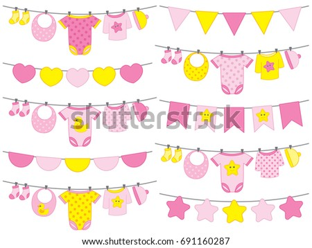 Vector Baby Girl Clothes Hanging On Line Bunting Baby Girl Shower