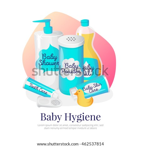 Vector baby hygiene goods illustration. Newborn accessories in cartoon style: shampoo, powder, oil, cream and toothpaste.