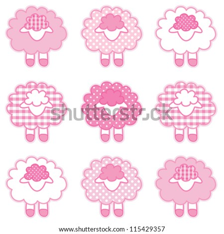 vector - Baby Lambs, pastel pink patchwork gingham and polka pots, for baby books, scrapbooks, albums, spring, Easter. EPS8 compatible.