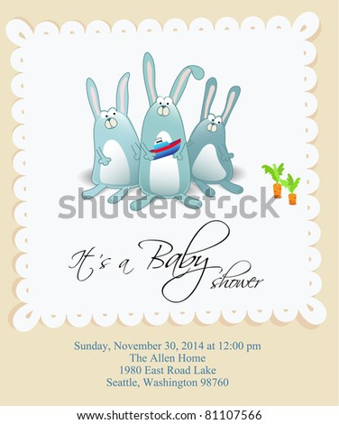 Vector baby shower card for boy
