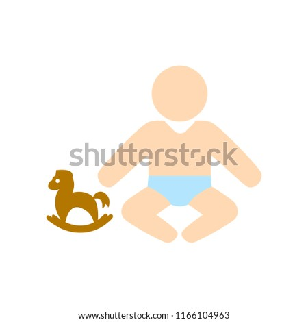 vector baby sit symbol, child toddler illustration isolated