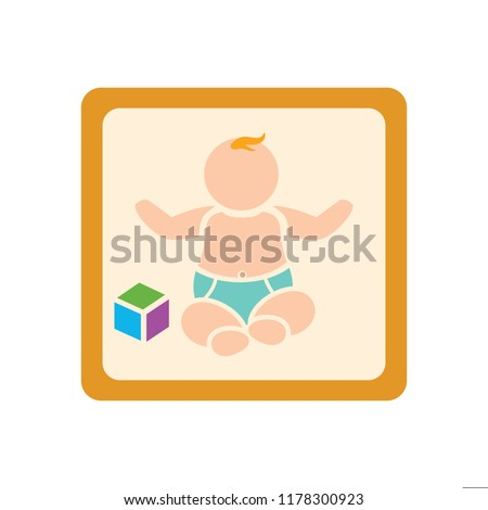 vector baby sitting illustration, cute baby - little kid, vector child