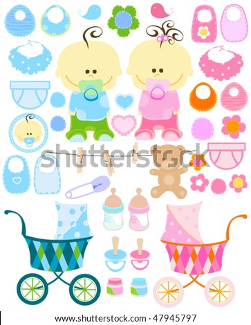 vector baby stuff collection