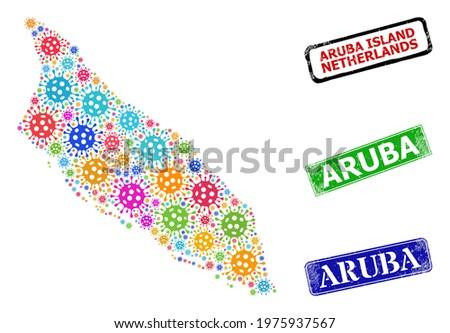 Vector bacilla collage Aruba Island map, and grunge Aruba seals. Vector colorful Aruba Island map collage, and Aruba unclean framed rectangle seals. Stock photo ©