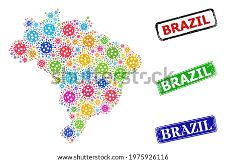 Vector bacilla collage Brazil map, and grunge Brazil stamps. Vector multi-colored Brazil map collage, and Brazil rubber framed rectangle stamps. Stock photo ©