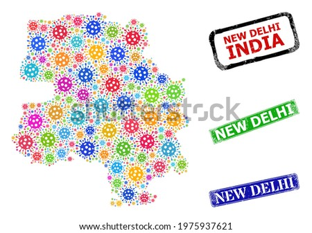 Vector bacilla collage New Delhi City map, and grunge New Delhi seal stamps. Vector colored New Delhi City map mosaic, and New Delhi rubber framed rectangle watermarks. Stock photo ©