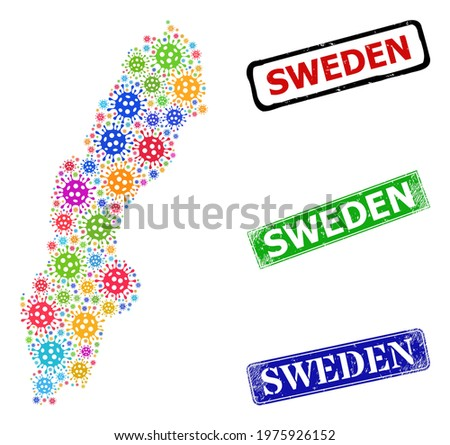 Vector bacilla collage Sweden map, and grunge Sweden stamps. Vector multi-colored Sweden map mosaic, and Sweden rubber framed rectangle seals. Stock photo ©