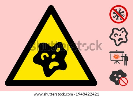 Vector bacilla flat warning sign. Triangle icon uses black and yellow colors. Symbol style is a flat bacilla attention sign on a pink background. Icons designed for careful signals, road signs, Stock photo ©