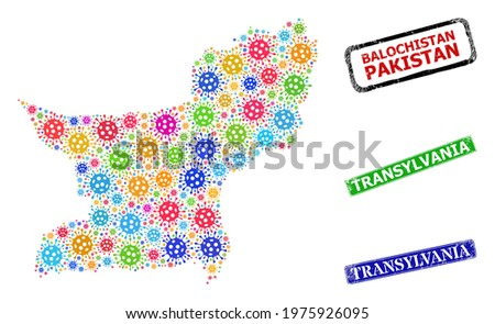 Vector bacilla mosaic Balochistan Province map, and grunge Transylvania seal stamps. Vector multi-colored Balochistan Province map mosaic, and Transylvania rubber framed rectangle stamps. Stock photo ©
