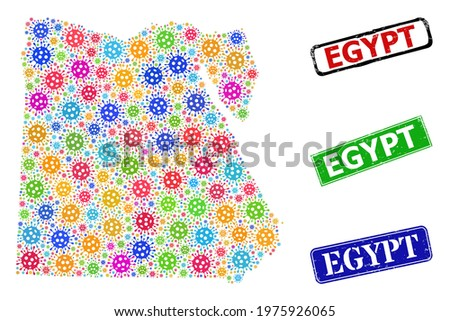 Vector bacilla mosaic Egypt map, and grunge Egypt seal stamps. Vector multi-colored Egypt map collage, and Egypt dirty framed rectangle seal prints. Stock photo ©