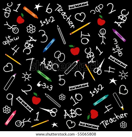 vector - Back to School Blackboard: chalk drawings, apples, math, books, rulers, pencils, pens, markers, protractors, crayons, scissors, ABCs, teacher & grade school doodles. EPS8 compatible.