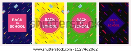 vector back to school cover design template set memphis colorful style with education supplies such us pen, book, phone, glass, ruler, pencil, brush, eraserfor poster, party, super sale offer. 10 eps