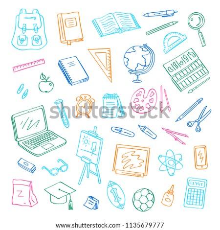 vector back to school doodle