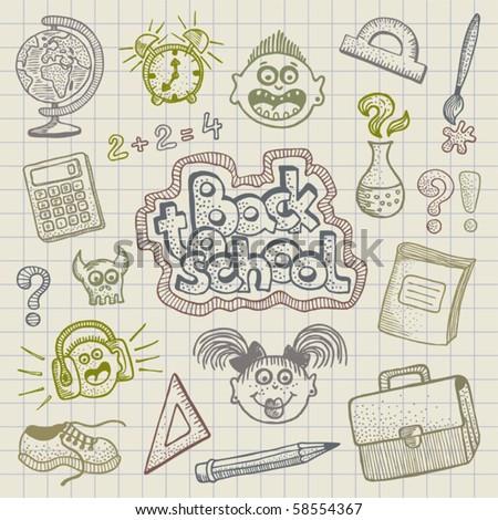 Vector Back to School doodles