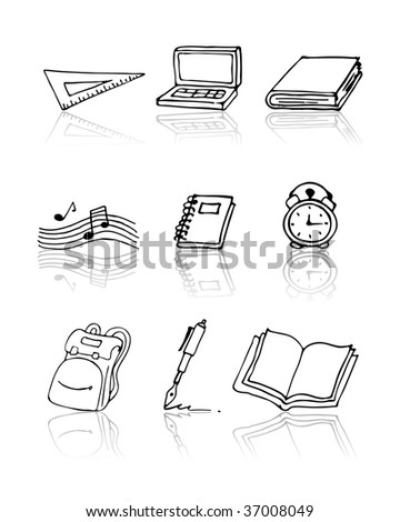 Vector back to school elements icon set. Doodle style. See more in my gallery.