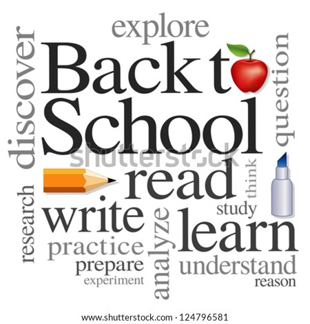 vector - Back to School Word Cloud. Read, write, learn, discover, explore, study, practice. Big red apple for the teacher. Isolated on white background. For education, literacy, scrapbook projects.