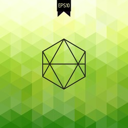 Vector backdrop with badge. Hexagon. Geometric. Triangle. Fresh green background. All isolated and layered