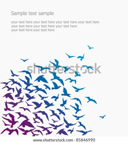 Vector background a silhouette of a birds flock
