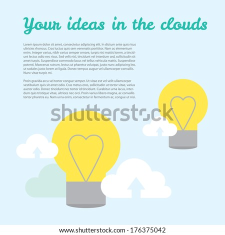 Vector background about ideas in cloud technologies. It\'s easy to share your ideas with modern cloud technologies. Illustration with place for text