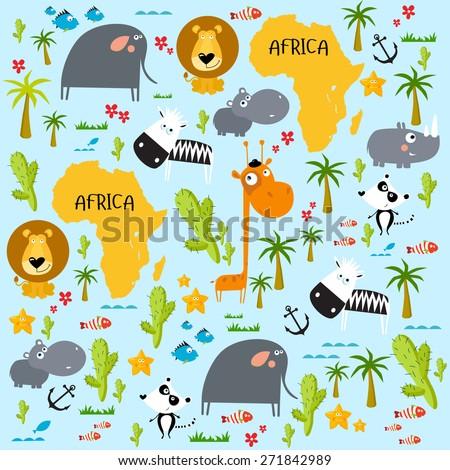 stock vector vector background africa 271842989 - Каталог — Фотообои «Для детской»