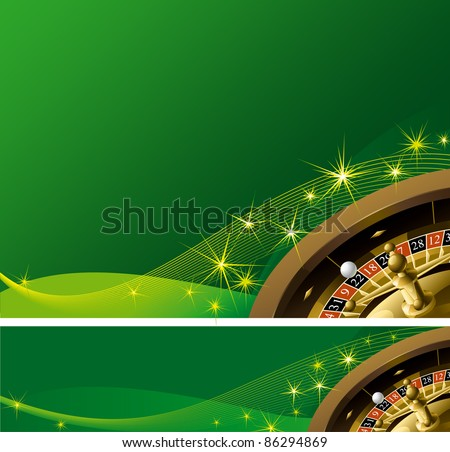 Vector  background and banner with roulette Wheel and stars
