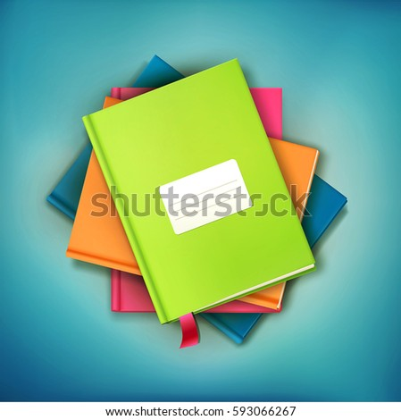 Vector background: books and magazines lying on derevyannos table with a card for the text. The top view