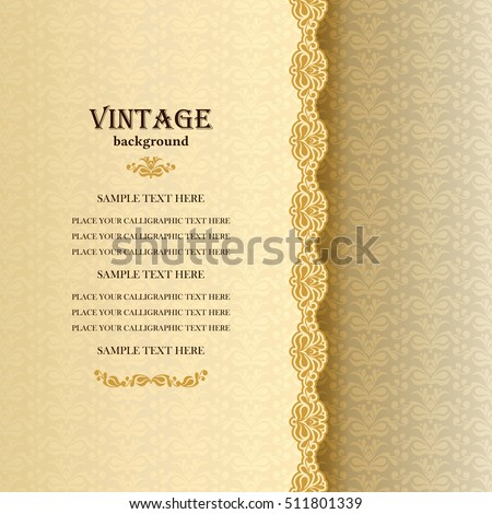 Vector Background, Card Design, Antique Style Greeting Card with Lace and Floral Ornaments