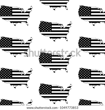 Vector background consisting of the outlines of the United States of America stylized under the US flag #1049773853
