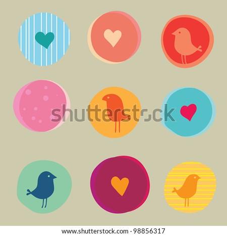 vector background cute birds