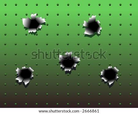Vector background design of bullet holes in green metal