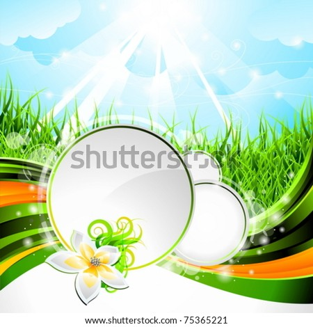 Vector background design on a spring and nature theme with flower