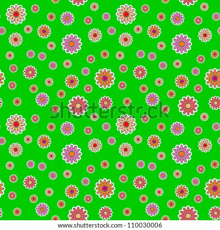 Vector background - different flowers on a green meadow