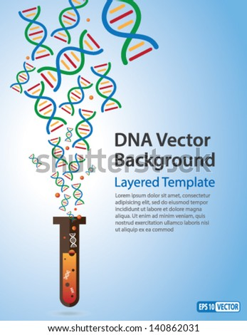 Vector Background DNA Strands coming out of a Test Tube Creative Concept for showing Biotechnology Innov ation Invention Bio-Science Clone and many other ideas