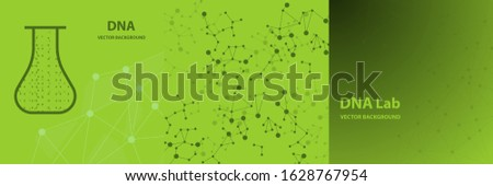 Vector Background - DNA Strands coming out of a Test Tube. Creative Concept for showing Biotechnology,Innovation, Invention, Bio-Science, Clone and many other ideas.