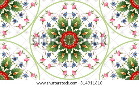 Vector background. Floral round ukrainian pattern in the style of Petrykivka painting and background with ornament similar to embroidery.