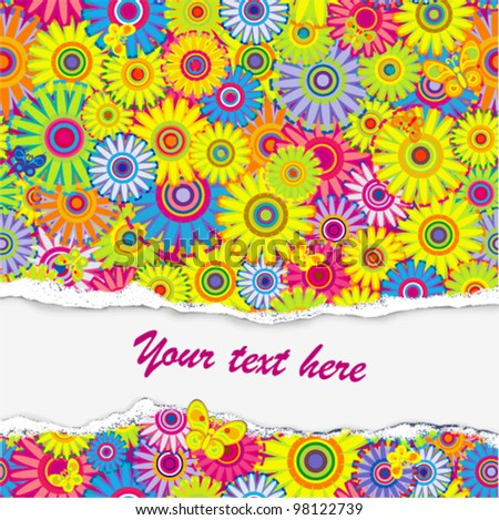 Vector background - flower pattern with butterfly (damaged paper with place for text)