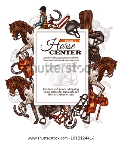 Vector background for horse riding poster with hand drawn horse and riding equipment. Design with sketch illustration for riding school, lessons, equestrian club or academy