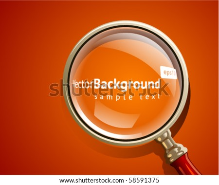Vector background gold magnifier icon