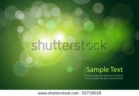 Vector background green and fresh magical lights, bokeh