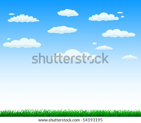 vector background - green grass and sky with clouds