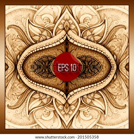 Vector background Hand drawn abstract background Decorative retro banner Card or invitation Vintage decorative elements Floral ornament Islam arabic indian ottoman motifs