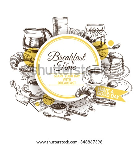 Vector background. Hand drawn breakfast illustration. Sketch.