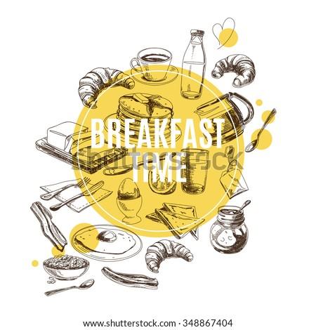 Vector background. Hand drawn breakfast illustration. Sketch.