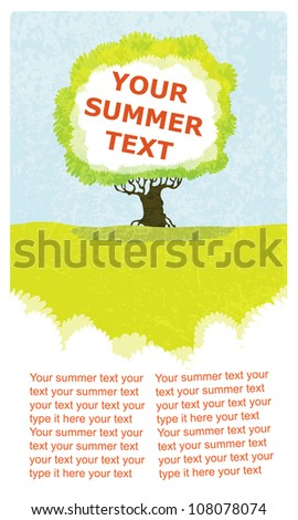 vector background illustration of a green bright tree in the field