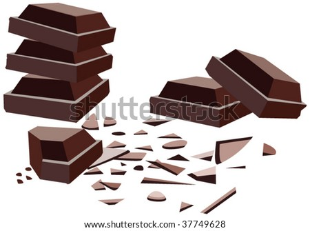 vector background illustration of delicious dark chocolate bar piles